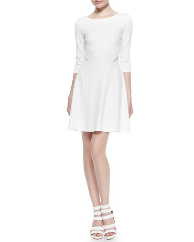 Joy Fit-and-Flare Dress with Lace Back
