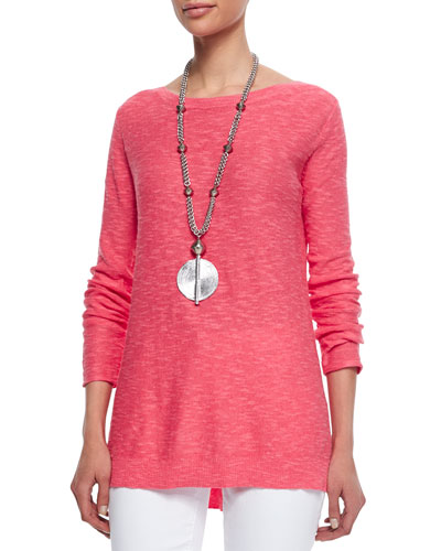 Long-Sleeve Slub Top, Petite