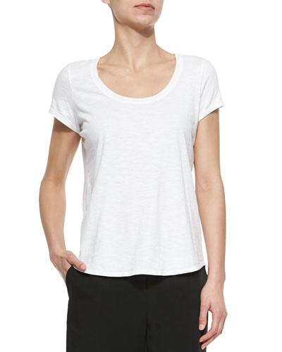 Slubby Short-Sleeve Scoop-Neck Tee, Women