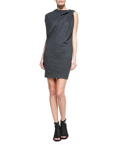 Twist-Shoulder Fitted Melange Dress