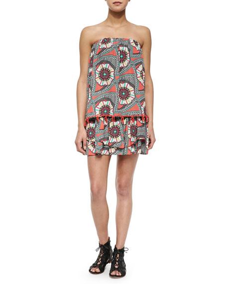 Tiered Strapless Printed Mini Dress