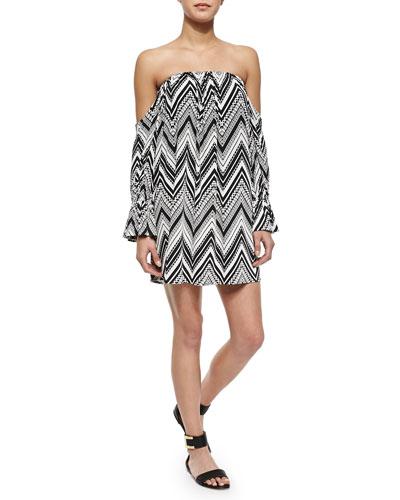 Off-the-Shoulder Zigzag-Print Dress