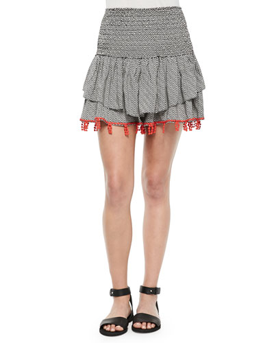 Shirred Printed Skirt with Beaded Trim