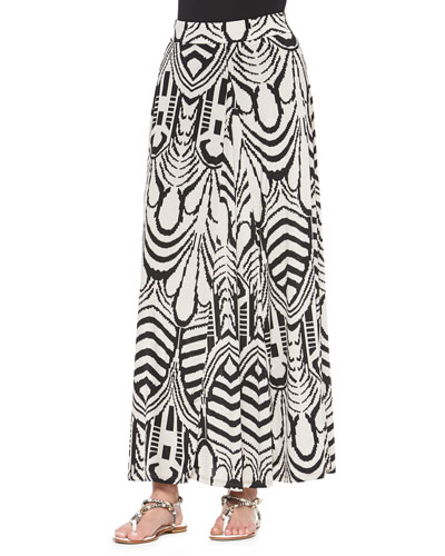 Abstract-Print Pleated Maxi Skirt
