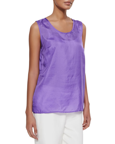 Caroline Rose Tissue Silk Tank, Purple