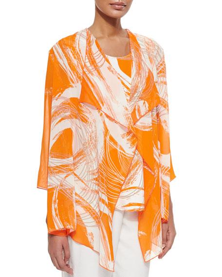 Caroline Rose Orange Swirl Draped Jacket, Petite
