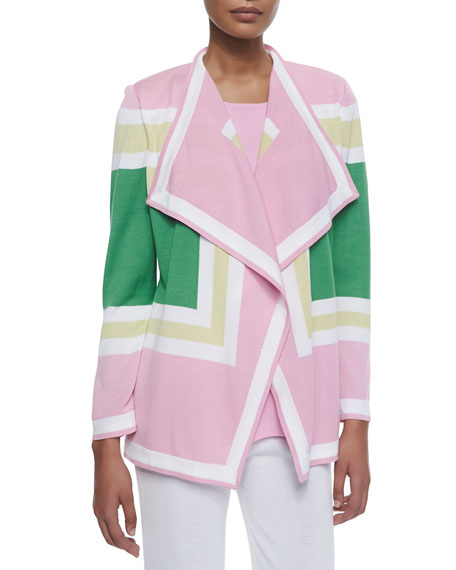 Misook Colorblock Draped Cardigan, Plus Size