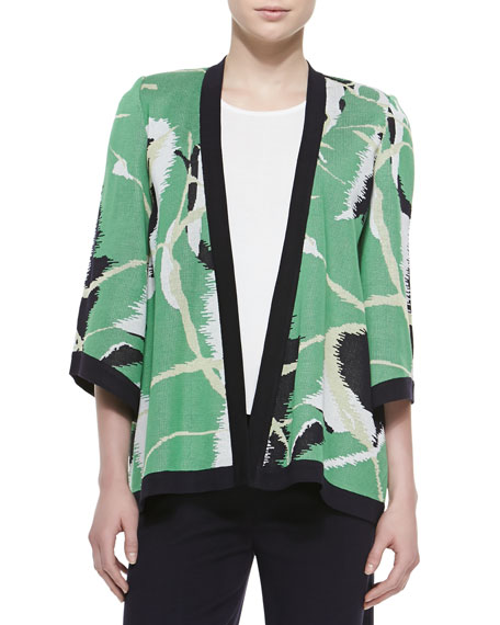Misook Abstract Printed Open Jacket
