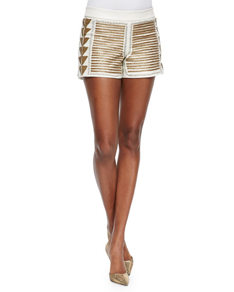 Alice + Olivia Beaded Back-Zip Leather Shorts