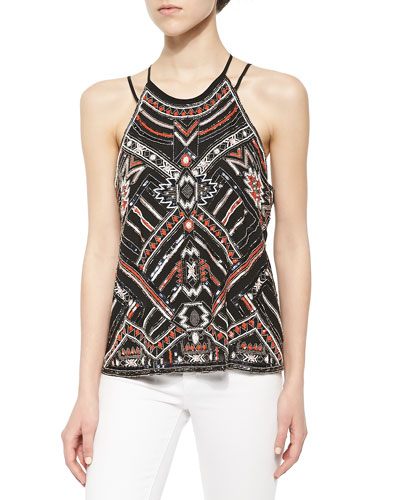 Neil Strappy Tank with Beading