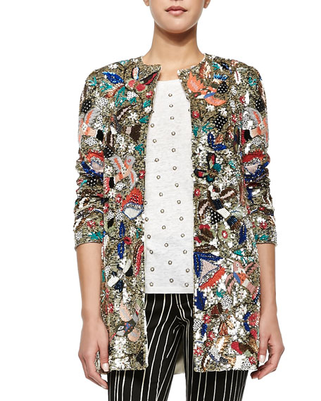 Alice + Olivia Rory Beaded Sequined Collarless Jacket