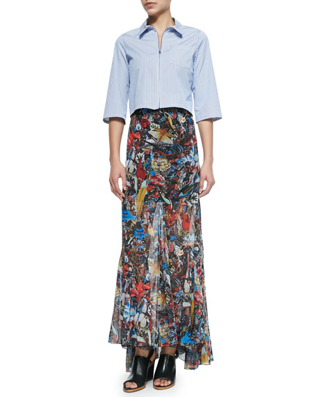 Paige Menagerie-Print Godet Maxi Skirt