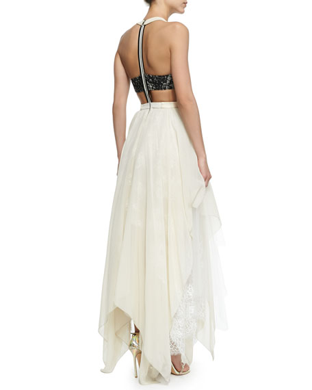 Jennifer Gown With Leather Bodice Handkerchief Hem