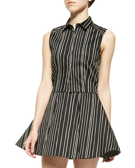 Alice + Olivia Lea Striped Fitted Sleeveless Blouse