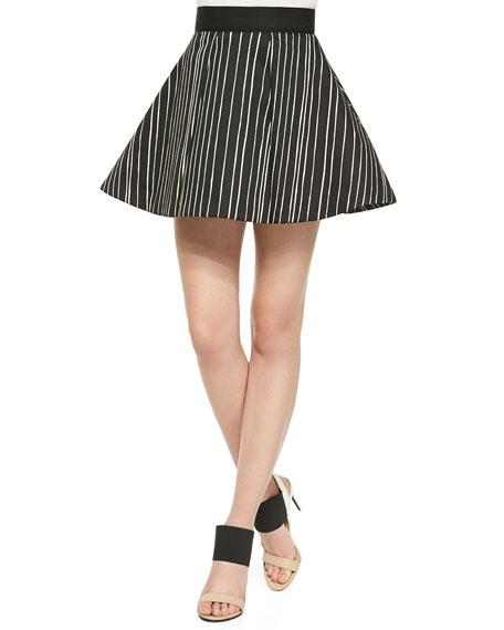 Alice   Olivia Libby Striped A-Line Skirt