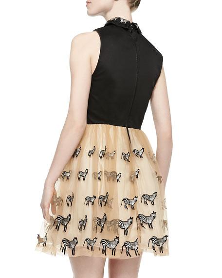 Preena Zebra-Embroidered Combo Shirtdress