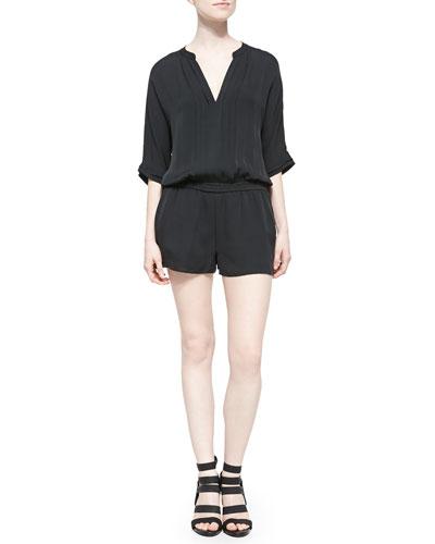 Benoite Pintucked Silk Short Jumpsuit