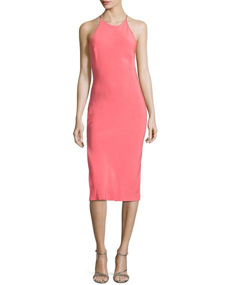 Halston Heritage Strappy-Back Halter Dress