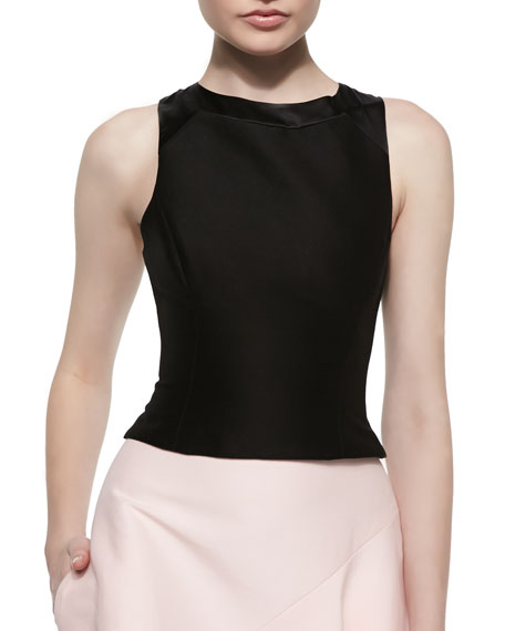 Halston Heritage Structured Crop Top with Back Cutout