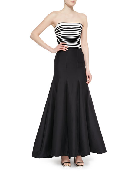 Long Pleated Trumpet Skirt, Black