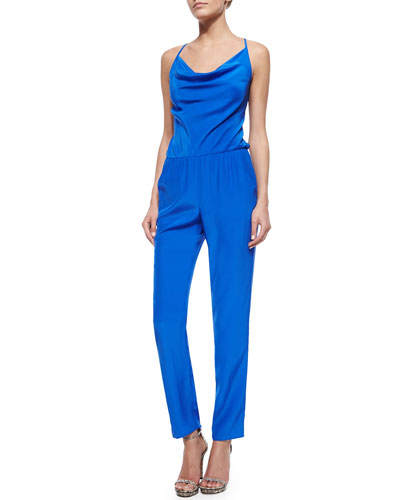 Bias-Cut Jumpsuit, Cobalt