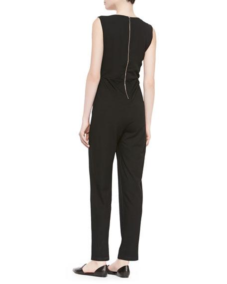 Sleeveless V Neck Spring Wrap Jumpsuit