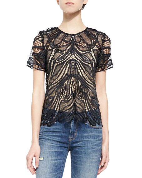 Generation Love Embroidered Netted Sheer Top
