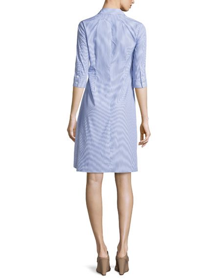 Diaz Striped Ruffled Shirtdress