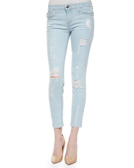 Current/Elliott The Stiletto Distressed Jeans, Chalky Indigo