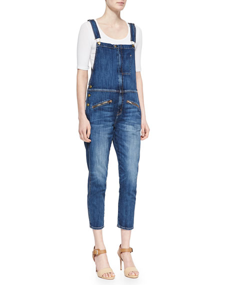 The Zip Denim Boyfriend Overalls