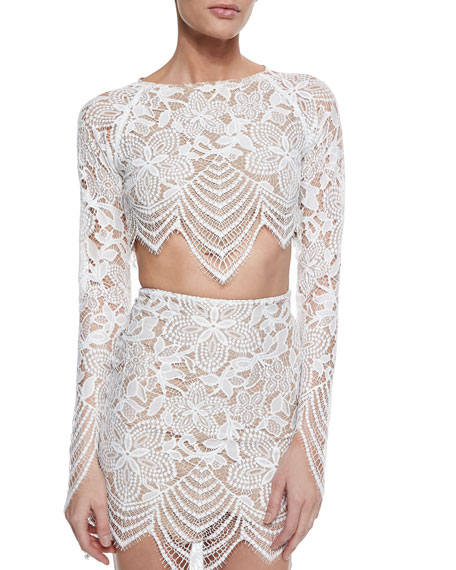 Guava Lace Scalloped-Hem Crop Top