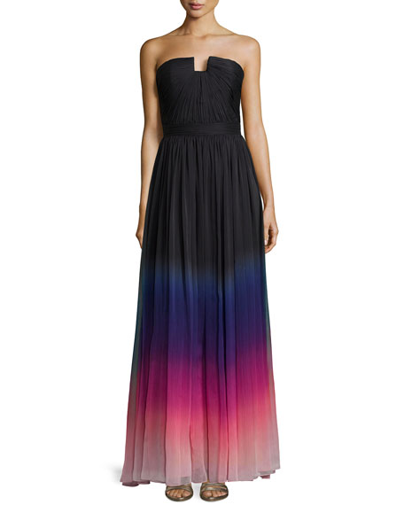 Halston Heritage Strapless Ombre Gown with Ruching