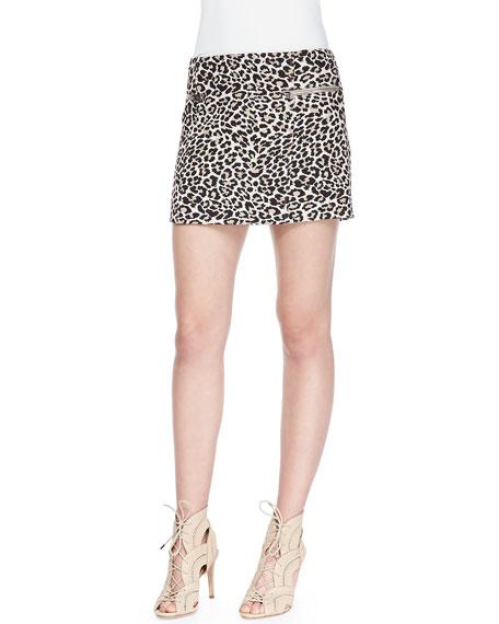 Joseph Perk Leopard-Print Zip Miniskirt