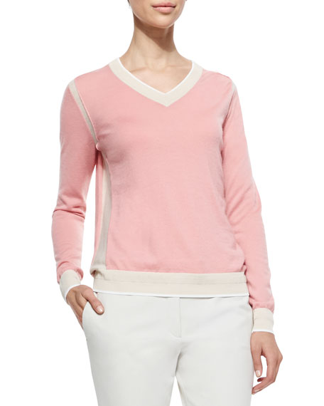 Joseph Two-Tone V-Neck Cashmere Sweater