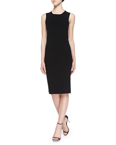 Isa Matte Crepe Dress, Black