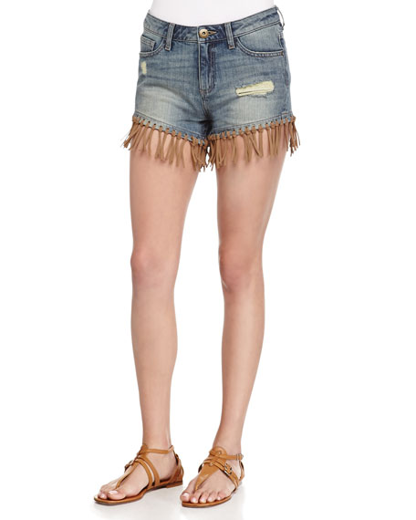 DL 1961 Premium Denim Ivy Distressed Denim Shorts
