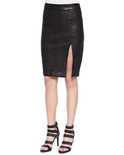 Front-Slit Leather Pencil Skirt