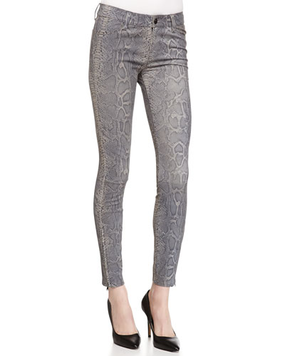 Vesper Snake-Print Leather Jeans