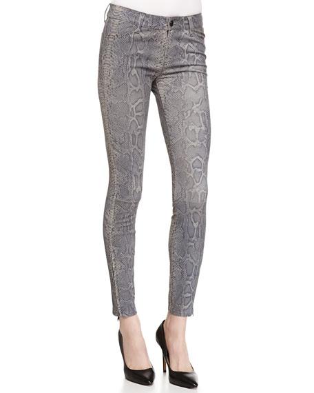 J Brand Jeans Vesper Snake-Print Leather Jeans