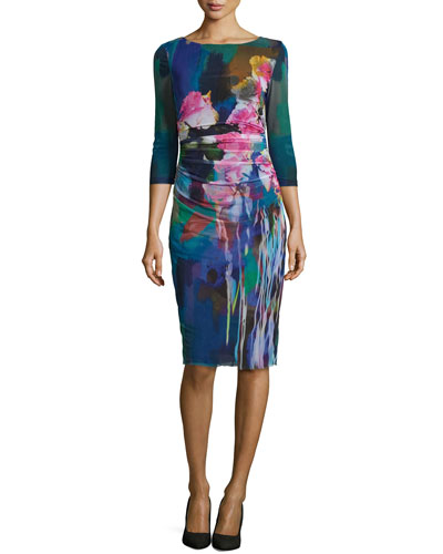 3/4-Sleeve Floral Printed Mesh Sheath Dress