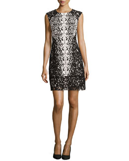 Jacquard Cocktail Dress with Lace