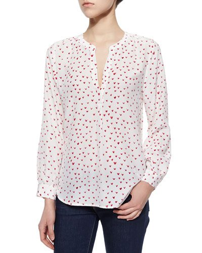 Peterson Heart-Print Silk Blouse