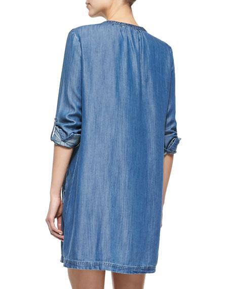 Eguine Tab-Sleeve Denim Shirtdress