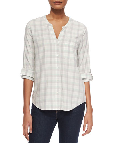 Anabella Plaid Georgette Blouse