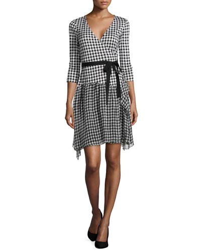 3/4-Sleeve Gingham Wrap Dress