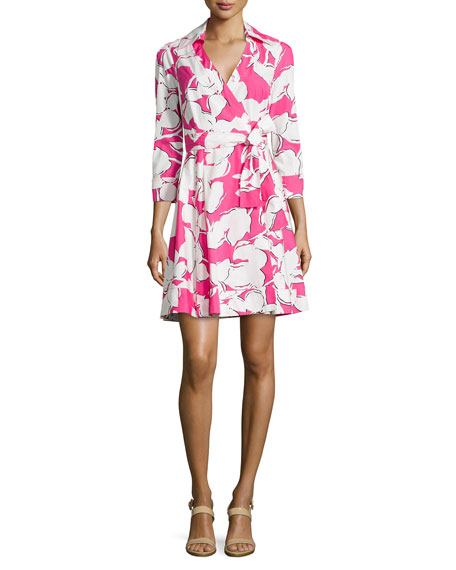 Diane von FurstenbergJadrian Floral Wrap Dress with Pleated