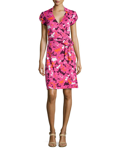 Neiman Marcus Dvf Wrap Dress Jilda Printed Silk Wrap Dress