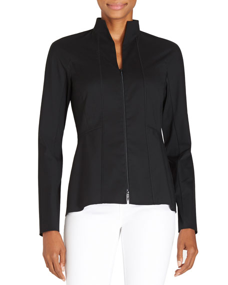 Lafayette 148 New YorkKerry Zip-Front Blouse W/ Stand