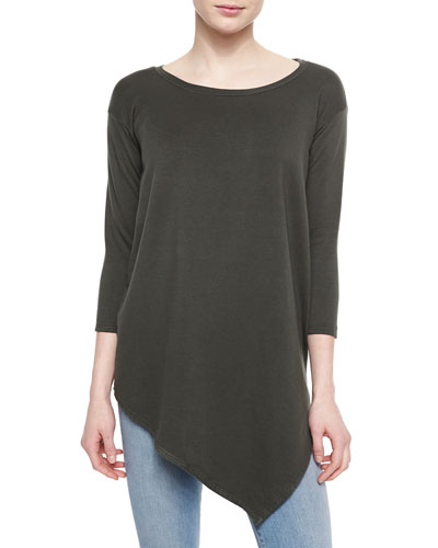 Tammy Asymmetric Boat-Neck Top, Fatigue
