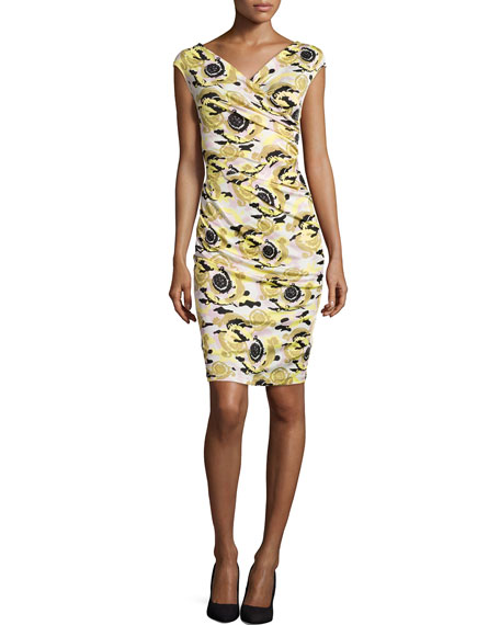 Versace Cap-Sleeve Printed Sheath Dress